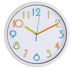 Bernhard Products Colorful Kids Wall Clock 10 Inch Silent Non Ticking Quality Quartz Battery Operated Wall Clocks, Easy to Read 3D Multi Colored Numbers Nursery Classroom Office Kitchen, White Frame Purple Wall Clocks, White Clocks, Howard Miller Wall Clock, Cute Clock, Face Home, Wall Clock Silent, Colour Consultant, Wall Clock Online, Minimalist Room