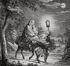 Phillip Medhurst presents Bowyer Bible Gospels print 3485 The flight into Egypt Matthew 2:14 Schellenberg on Flickr.  A print from the Bowyer Bible a grangerised copy of Macklins Bible in Bolton Museum and Archives England. Photograph of a print in the Phillip Medhurst Collection (owned by Philip De Vere) at St. Georges Court Kidderminster.
