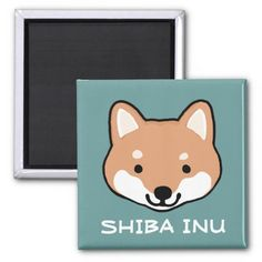 Shiba Inu Smiley Face with Custom Text 2 Inch Square Magnet