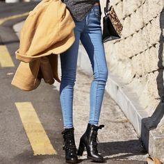 Ssongbyssong Korean KPOP Fashion Clock Walk Low Rise Skinny Jeans Luxury Quality #ssongbyssong #SlimSkinny