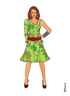 Karen`s Paper Dolls: Camilla Dressed to Print in Colours. Camilla klædt på til at printe i farver.