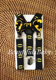 Batman Suspender and Bowtie Set 6 Months to 5 by Beautiful4Baby