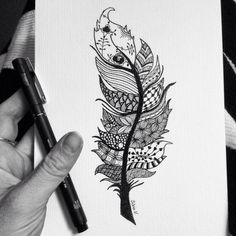 Zentangle fjer :)