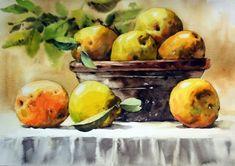 [정물수채화] 모과정물 - 수채화과정 : 네이버 블로그