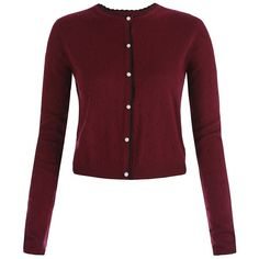 'Bergman' Burgundy Knitted Cardigan (150 BRL) ❤ liked on Polyvore featuring tops, cardigans, coats, outerwear, shirts, burgundy, burgundy knit cardigan, red long sleeve shirt, red shirt and burgundy shirt