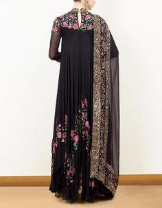 Black Asymmetric Kurta Set with Thread Embroidery-NS by Nakul Sen Pakistani Dress Design, Pakistani Dresses, Indian Dresses, Indian Outfits, Indian Designer Outfits, Designer Dresses, African Fashion, Indian Fashion, Pakistan Fashion