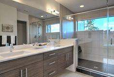 Contemporary Master Bathroom with stone tile floors, Master bathroom, Shower, frameless showerdoor, Double sink, Paint 1