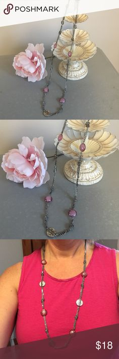 "Silver & pink coin necklace Beautiful brushed silver & pink 32"" double chain necklace. Accented with chain knots, round silver disks and pink beaded disks. By Coldwater Creek Coldwater Creek Jewelry Necklaces"