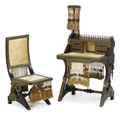 """lot 2026: CARLO BUGATTI (1856 - 1940) Estimate: $20,000 - $30,000  Rare writing desk and chair, Italy, 1910s Stained wood, mahogany, brass, pewter, copper, tassels, vellum Unmarked Desk: 53"""" x 30"""" x 19"""", chair: 34"""" x 16"""" x 18"""" Provenance: Dorotheum, Vienna, Austria, Jugendstil and 20th Century Arts and Crafts, April 2014, lot 105"""