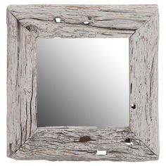 Add a rustic touch to your decor with this weathered wall mirror, crafted from reclaimed wood and featuring a distressed white finish.