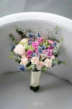 Wedding, bridal bouquet, eucalyptus, roses, carnation (my creation, not my pic though)
