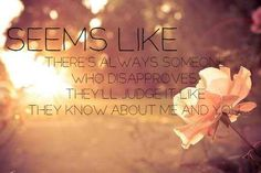 Seems like there is always someone who disapproves. They'll judge it like they know about me and you.