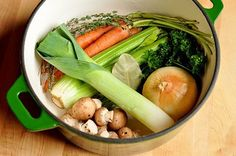 Every time we make vegetable stock, we wonder why we ever bother buying it in the store. It's so easy! Chop up some vegetables, cover with water, and simmer. Done. You'll have enough stock to make your soups, casseroles, and pilafs for weeks to come, and all in just a little over an hour.