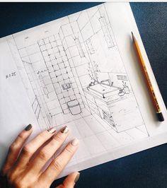 Croquis Architecture, Interior Architecture Drawing, Interior Design Renderings, Architecture Concept Drawings, Interior Sketch, Drawing Interior, Classical Architecture, Perspective Drawing Lessons, Interior Design Presentation