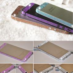 Multi-colors Glitter Bling Diamond Side Edge Cover Case Rhinestone Sweets Deco Phone Bling Diamond Skin Sticker For iPhone 5 5s