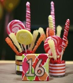 6 Ideas for Candy Centerpieces | Mitzvah, Sweet 16 Party, Wedding | Mazelmoments.com