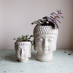 Hey, I found this really awesome Etsy listing at http://www.etsy.com/listing/161246594/two-buddha-head-planters-small-and-large