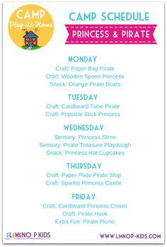 Camp Play At Home – Princess & Pirate - Top Trends Camping Activities, Preschool Activities, Preschool Plans, Summer School, Summer Kids, Learning Through Play, Kids Learning, Princess Snacks, Welcome To Preschool