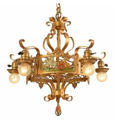 Classic Wrought Strap Chandelier w/ Chariot Motif c1928