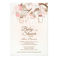 54 best baby shower invites floral images on pinterest baby chic pink mason jar floral baby shower invitation filmwisefo