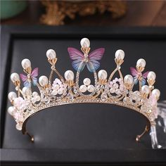 Princess Gold Color Wedding Crowns And Tiaras 2018 Pearls Crystal Beads Butterflies Women Hair Headpieces Bridal Jewelry Party Bride Jewelry Cheap Hair Accessories From Fairy_lady, [. Cheap Jewelry, Cute Jewelry, Hair Jewelry, Gold Jewelry, Jewelry Sets, Unique Jewelry, Jewelry Making, Bridal Crown, Bridal Tiara