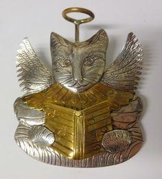Antique Designer Signed Sterling Silver Singing Angel Cat Pin Brooch Huge 24 gr