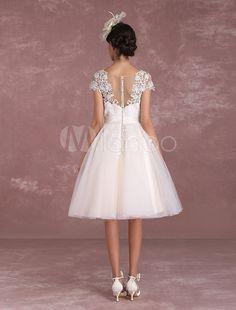 robe de mariée vintage A-ligne die Knöpfen en organza Tissu de satin avec soutien-gorge et doublure manches courtes