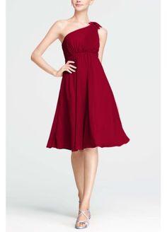 One Shoulder Chiffon Dress with Petal Detail F15332