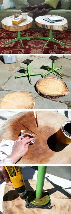 Check out how to build DIY side tables from tree trunk and old chair legs @istandarddesign