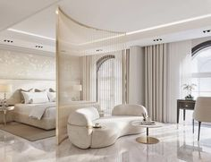 Gorgeous all white luxury bedroom decor with extended headboard bed and curved sofa