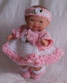 "Hand Crochet 5"" Berenguer Itty Bitty Baby Doll Clothes Sundress Jacket Pink New"