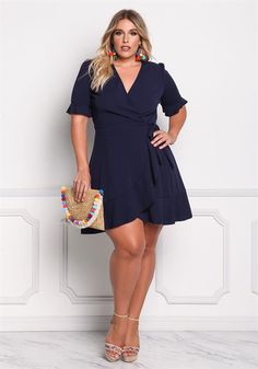 Plus Size Ruffle Surplice Wrap Dress