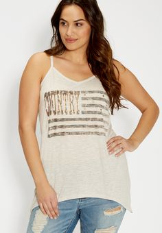 "plus size ""country"" tank with crocheted back (original price, $29.00) available at #Maurices"