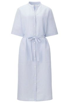 The Best Lightweight Pieces for Extremely Hot Weather Uniqlo Linen Cotton Striped Shirt Dress Casual Summer Outfits, Chic Outfits, Fashion Outfits, Work Outfits, Fashion Clothes, Women's Fashion, Cotton Shirt Dress, Striped Shirt Dress, Women's Summer Fashion