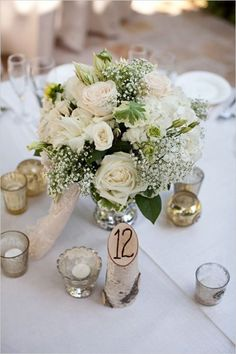 Simple table arrangements with birch accents - fun way to number the tables. More pinks than whites though, but this is a good example of something simple for the dinner tables. rose wedding decor and birch wedding table number Wedding Flower Arrangements, Floral Arrangements, Wedding Bouquets, Wedding Flowers, Flower Centrepieces, Bridesmaid Bouquets, Table Arrangements, Wedding Table Decorations, Wedding Table Numbers