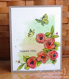 Paper:NEENAH Desert Storm, Tim Holtz Distress Watercolor Cardstock Stamps ALTENEW, Painted Flowers and Painted Butterflies