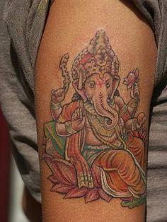 Color Lotus Flower And Elephant Head God Ganesha Tattoo Buddhist Symbol Tattoos, Hindu Tattoos, God Tattoos, Buddhist Symbols, Buddha Tattoos, Sexy Tattoos, Ganesha Tattoo, Geometric Tattoo Arm, Full Sleeve Tattoos