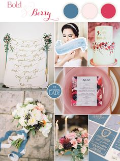 Bold Blue and Berry Artistic Wedding Inspiration with Floral Print and Calligraphy Details