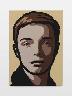 Finn, eyes straight, head hard right by Julian Opie, 2013, inkjet on canvas on wodden stretcher |  Lisson Gallery