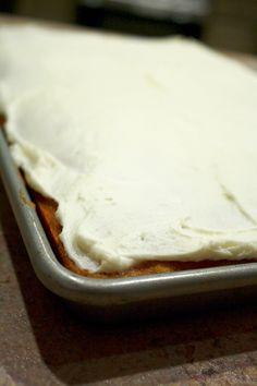 This is the best pumpkin bar recipe I have ever had. The moist pumpkin bread recipe with a simple cream cheese frosting ... to die for! This is a perfect recipe for a potluck or a fall party recipe to  save, for sure!