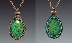 This tutorial will teach you how to create a beautiful and unique woven wire bezel pendant. This technique is both versatile and elegant and can be adapted to nearly any type of cabochon or bead. You will also learn a bead embroidery technique for a beaded bezel on back to make the pendant completely reversible. Essentially, you are getting two tutorials within this purchase. I hope you really enjoy learning to wire weave and embroider with beads. Materials: 38 and 3/4 inches of 20 gauge…