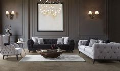 acik-gri-chester-koltuk-takimi What is Decoration? Decoration could be the art of decorating the interior and exterior of the building type buildings … Grey Sofa Set, Design Marocain, Home Design Magazines, Classic Home Decor, Inside Design, Design Moderne, Living Room Decor, Sweet Home, House Design