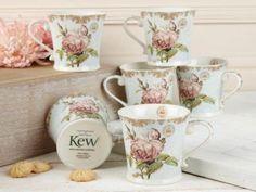 Set-De-6-Kew-Gardens-Shabby-Chic-Azul-Porcelana-Fina-Jarra-Tazas …