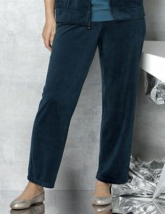 Cozy up to everyday softness with this comfortable, must-have pant. Sumptuous velour covers the front and back for essential warmth and relaxation. Pull-on elastic waistband offers a custom fit with its satin drawstring ties at the center. Sparkling rhinestones accent the grommet detail. Comes in your choice of mix-and-match solid colors. Pairs perfectly with our Velour Jacket. Catherines pants are specifically designed with the plus size woman in mind. catherines.com
