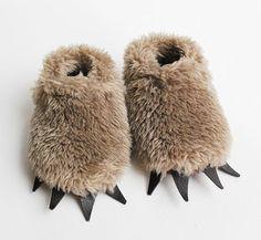 Fuzzy bear slippers, by Baby Cricket / Etsy