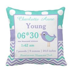 Fowl Teal Purple Child Announcement Pillow. >>> Learn even more by visiting the photo link