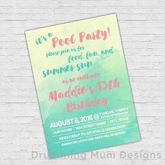 Watercolor Pool Party Teen Girl Birthday Invitation Summer Swim Party Invite Tween Girl Invitation Any Age Girl Invite pink Printable PDF
