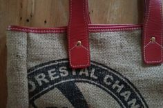 New red leather trim design on CB Sacks totes! Made from #upcycled coffee bean sacks. 5% of proceeds go to support Food 4 Farmers.