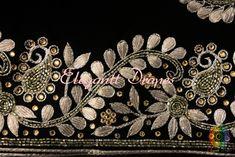 Bringing a breathtaking Royal Black Pure Chinon Crepe Gota Patti Zardozi Work Saree in a fabulous pattern. Zardosi Embroidery, Hand Work Embroidery, Couture Embroidery, Embroidery Suits, Hand Embroidery Designs, Embroidery Patterns, Gota Patti Suits, Gota Patti Saree, Wedding Saree Blouse Designs