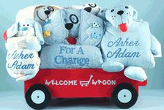 Deluxe Personalized Puppy Wagon Gift Set for Baby Boy